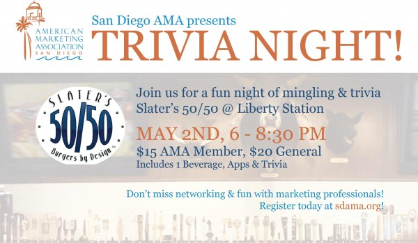 San Diego AMA Happy Hour – Trivia Night at Slater's 50/50