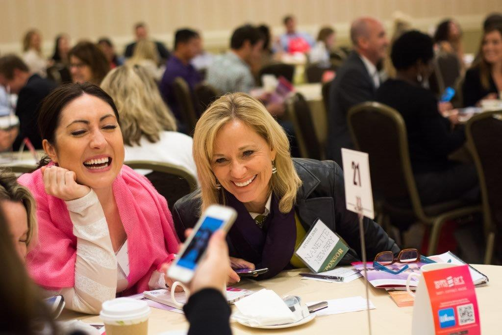 Sharing messages and photos during Art of Marketing Conference exercises can lead to humor.