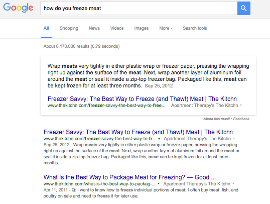 example of Google Direct Answer
