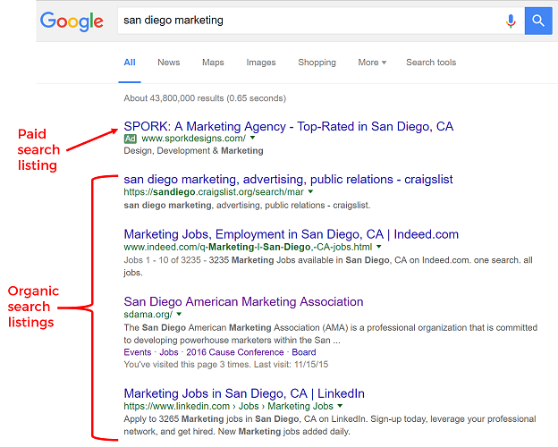 Example of SERP