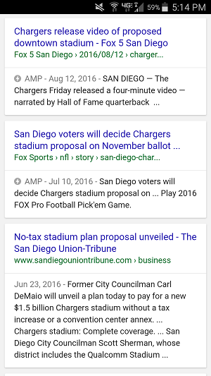 Example of AMP, accelerated mobile pages