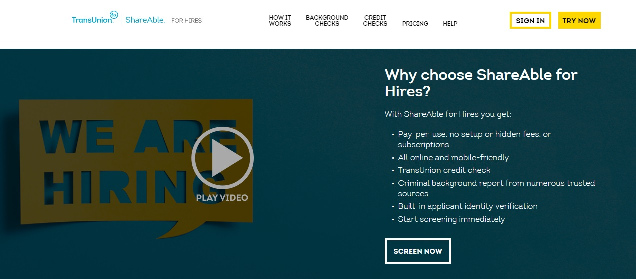 screenshot of ShareAble for Hires
